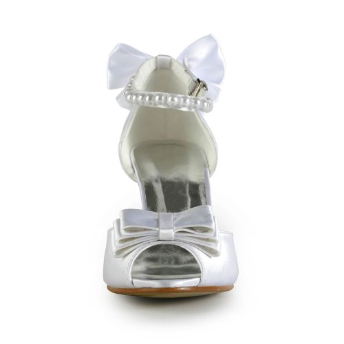 Beading Bridal Bowknot High Satin Wedding White Sandals Minishion Party Heel Womens Evening 8qCY4Yz5