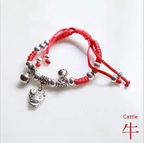 Koedu Chinesischen Stil Ethnische Stil Handgewebte rote Seil Maskottchen 12 Tierkreiszeichen Gl/ück Armband Einstellbar Horse