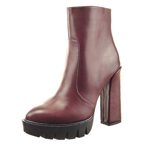 Sopily - Chaussure Mode Bottine Motard Plateforme Cheville femmes finition surpiqûres coutures Talon haut bloc 12 CM - Intérieur Fourrée - Rouge