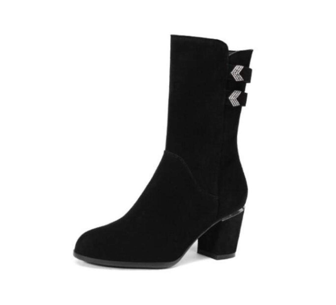 Black Women Suede Knee Boots Winter Warm Leather Boots High Heel Metal Buckle Knight Boots Size 34-42