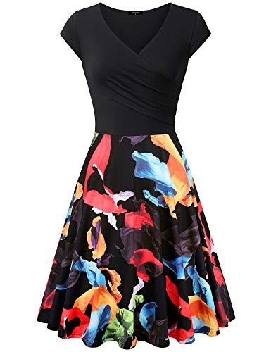 - Lotusmile Elegant Dresses Womens Casual Dress A Line Cap Sleeve V Neck (Black Orange, Small)