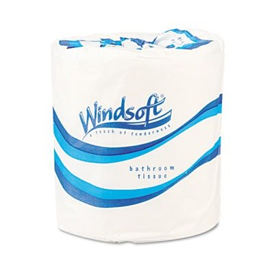 Windsoft 2210 Single Roll Bath One-Ply Bathroom Tissue, White (Case of 96)