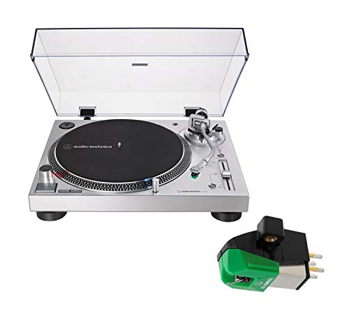 Audio Technica AT-LP120XUSB Direct-Drive Wired DJ Turntable Bundle with Replacement Cartridge - (AT-VM95E) Silver