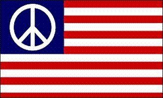 Brass Peace Sign - Dura-Poly by Flagline.com Peace/USA -3' x 5' Polyester Flag