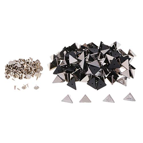 Prettyia Fashion Punk Style Pack of 100 Sets Pyramid Shape Rivets Buttons for Leather Crafts - Black ()