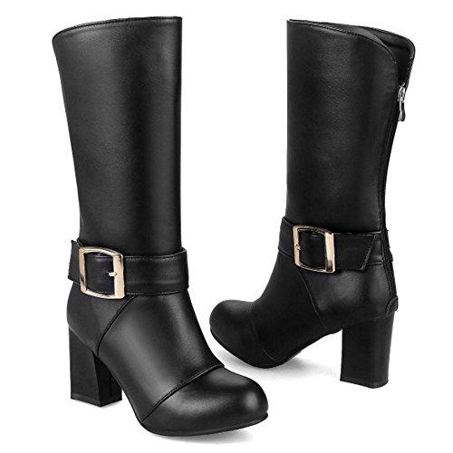 Zipper Back Heels Black TAOFFEN Boots Fashion Women's wxqngXO