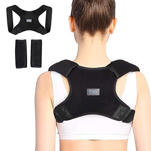 (Back Brace, Back Posture Corrector for Men and Women, Upper Back Support Belt with Adjustable Straps and Removable Shoulder Pads, Avoid Slouch, Improve Posture and Relieve Back Pain)