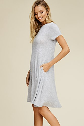 Scoop grey Sleeve Comfy Swing Women's Heather Neck with Annabelle Pockets Dresses Short P4BWIwnq