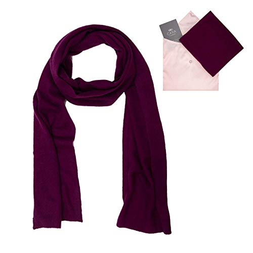 Luxury Cashmere Blend - Cashmere Scarf for Women - 100% Pure Luxury Knit - Lightweight, Ultra Soft, Warm - Beautiful Silk Keepsake Gift Bag (Aubergine), Medium