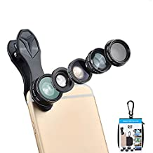 Apexel Professional 12X/24X Macro Lens Mobile Phones Camera Len Kits for iPhone Android Samsung Galaxy Clip-on Universal Lens with Lens Hood