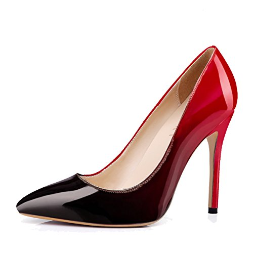 Womens Pointed Stiletto PU Slim Pumps Red - 2