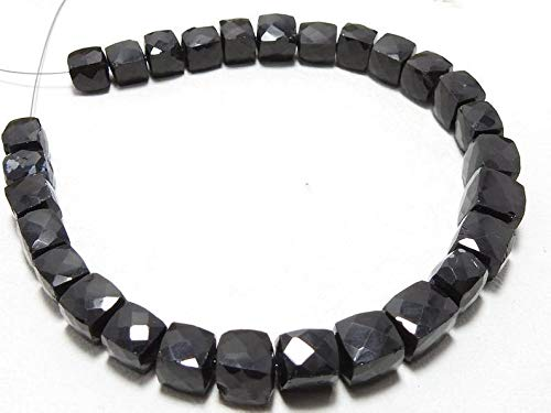 Natural Black Onyx 3D Cube Box Shape Beads|7-8mm Faceted Cube Beads for Jewelry Making |8