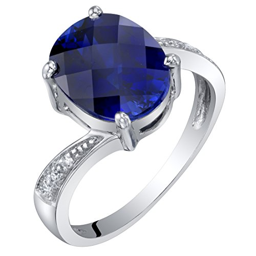 (14K White Gold Created Blue Sapphire and Diamond Solitaire Ring 3.50 Carats Oval Shape Size 6)