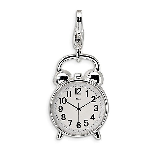 925 Sterling Silver Rh 3 D Alarm Clock Lobster Clasp Pendant Charm Necklace Household Fine Jewelry Gifts For Women For Her ()