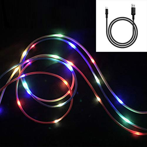 (♛Euone Cable ♛Clearance♛, 1M Micro USB Lighting Cable Line with LED Flowing Smart Charging with Data Sync)