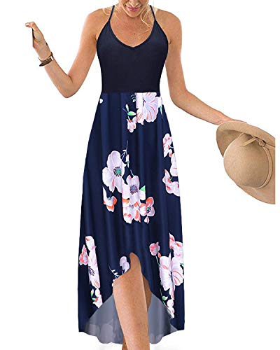 Hount Women's Summer Spaghetti Straps V Neck Sleeveless Floral Print Asymmetrical Maxi Dresses with Pockets (Navy Blue, ()