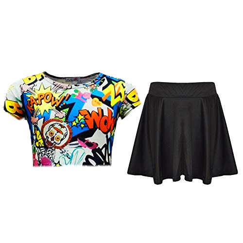 ad565b38e63 Kids Girls Comic Graffiti Leopard #Selfie Crop Top & Fashion Skater Skirt  Set - Buy Online in KSA. Apparel products in Saudi Arabia.