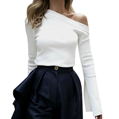 (Pengy Women Sexy Slash Neck Off Shoulder Flared Long Sleeve Pure White Shirt Blouse Top (White, M))