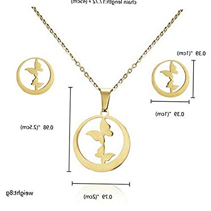 Fashion Women Stainless Steel Jewelry Set Silver Pendant Chain Necklace Earrings