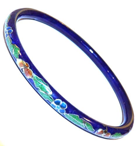 Vintage Flower & Vinyl Pattern Cloisonne Bracelet with Cobalt Blue Base