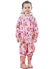 Kids Rainsuit Raincoat Waterproof Jumpsuit - Coverall Rainwear All-in-One Rain Jackets Children Reusable Rain Coat Slicker Windproof Hooded for Sports Camping Traveling Outdoors Park Boys Girls