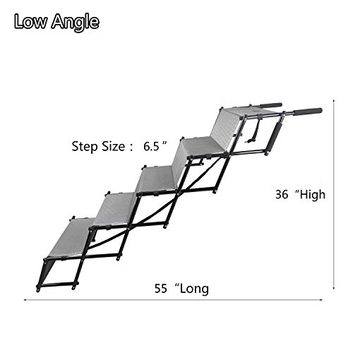 YEP HHO 5 Steps Upgraded Folding Pet Stairs Ramp Lightweight Portable Dog Cat Ladder with Waterproof Surface Great for Cars Trucks SUVs