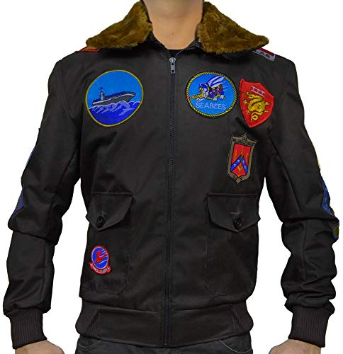 Top Gun Tom Cruise Jet Fighter Bomber Jacket TopGun Cordura Jacket (Medium (Best for Chest Size 40)) Brown ()