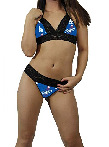 Los Angeles LA Dodgers Sexy Black Lace Cami Tie-Top, Matching G-String Panties Lingerie - MADE with LICENSED Fabric - Custom Sizing