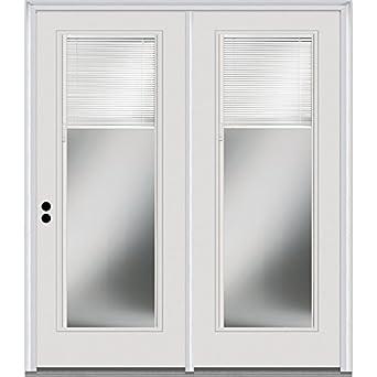 Compañía Nacional de puerta z001612r suave de fibra de vidrio, blanco, mano derecha in-swing, centro con bisagras para puertas de Patio interior de cristal transparente, persianas, 60