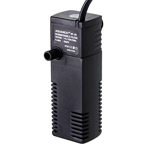 Aquarium Filters Gallon 10 (Aquaneat Aquarium Internal Filter 60GPH up to 10 gal Fish Tank Powerhead Submersible Water Pump)