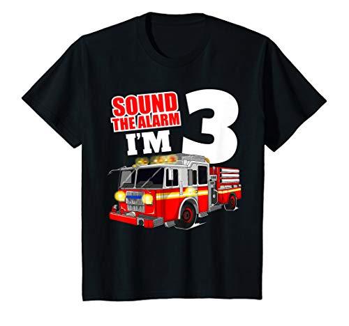 Kids Fire Truck 3rd Birthday T Shirt 3 Boy Toddler Firefighter ()