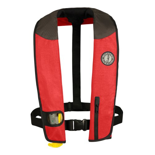 - MUSTANG SURVIVAL Deluxe Manual Inflatable PFD (Red/Carbon/Black)