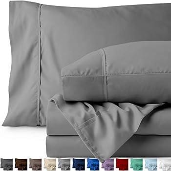Bare Home Split King Sheet Set - 1800 Ultra-Soft Microfiber Bed Sheets - Double Brushed Breathable Bedding - Hypoallergenic - Wrinkle Resistant - Deep Pocket (Split King, Light Grey)