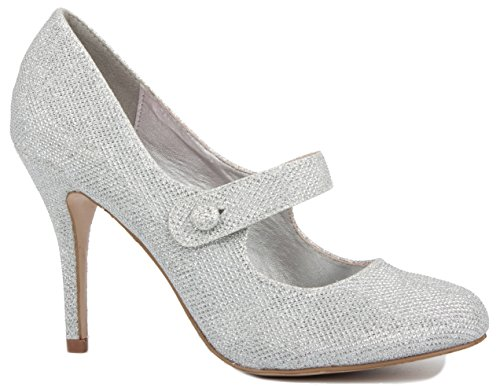 LADIES WOMENS LOW MID HIGH HEEL ANKLE STRAP COURT SHOES WORK PUMPS SANDALS SIZE Silver Shimmer 4QFsZHe