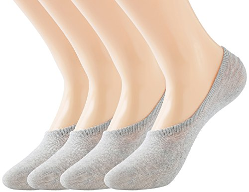 Women No Show liner Socks Middle Profile Low Cut Cotton Running Socks Non Slip Flat Boat Line 12 8 Pack of 4
