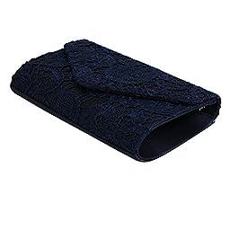 Jubileens Women\'s Elegant Floral Lace Envelope Clutch Evening Prom Handbag Purse (Navy blue)