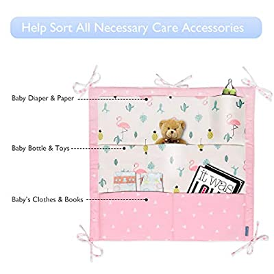 Baby Crib Organizer, LIVEBOX 9-Pocket Nursery Cot Organizer, Hanging Diaper Caddy, Bed Pocket Storage Organizer for Baby Essentials,Clothes Diapers Toys Baby Shower Gift