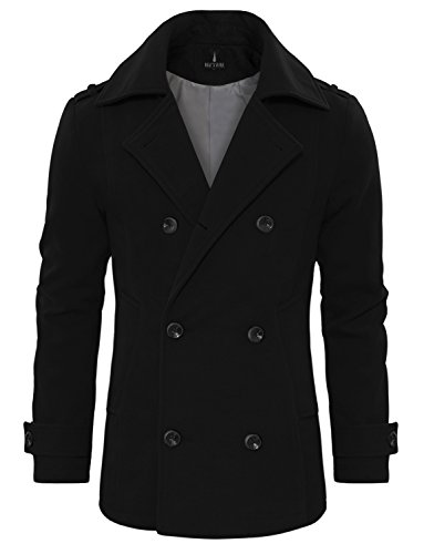 Tom's Ware Men's Stylish Wool Blend Double Breasted Pea Coat TWCC10-BLACK-US M