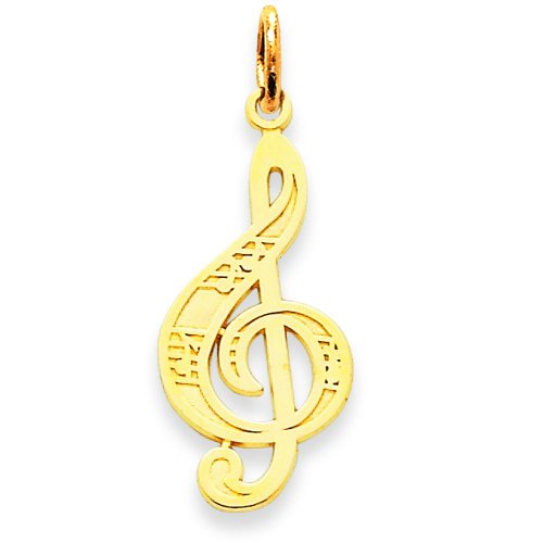 (14K Yellow Gold Treble Clef Charm Music Note Jewelry)