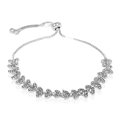 RIAH FASHION Sparkly Crystal Rhinestone Cubic Zirconia Bridal Bracelet - Pave Wedding Statement Cuff Bangle Adjustable Wrist Slide Tennis Bolo/Pearl Wrap Stack (Laurel Leaf - Silver) ()