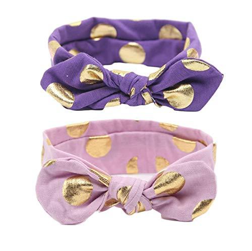 Baby Girls Gold Dots Bronzing Headband Cotton Turban Knotted Hair Bow Hairband JA60 (Purple Set)