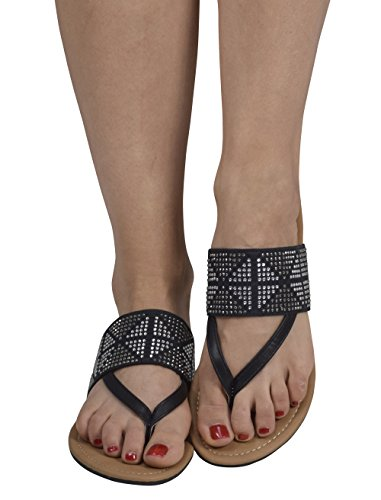 Peach Couture Womens Double Strap Pearl Studded Wide Band Slides Sandals Black 7 B(M) US by Peach Couture (Image #2)