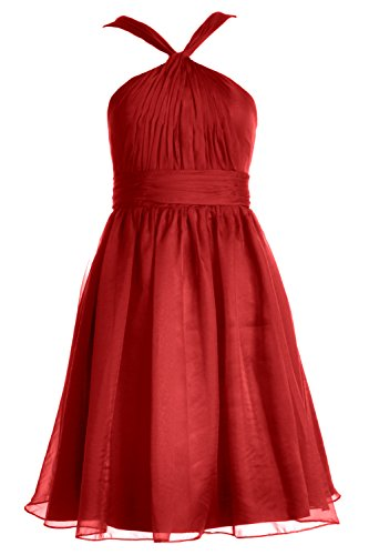 Gown Cocktail Formal Dress MACloth Knotted Chiffon Party Rot Women Short Bridesmaid wwfBxq4AO