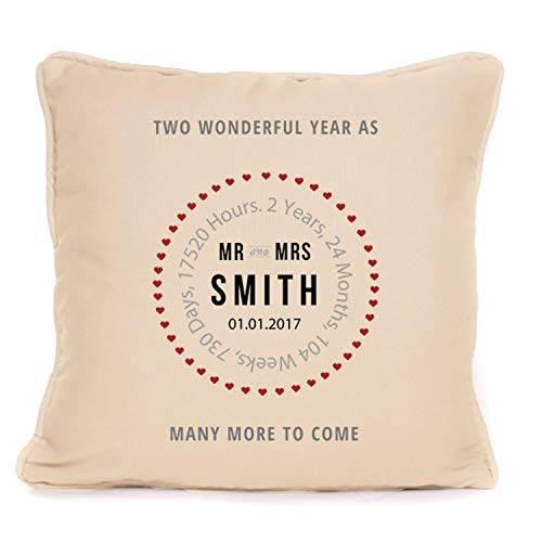 (Personalised Wedding Cushion Pillow Cover Gift for Bride and Groom | 18x18 Inch Customizable Second Anniversary Pillowcase)