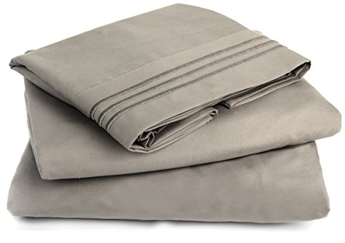 HOTEL LUXURY SHEET SET Double Brushed Microfiber Platinum Collection Bedding Set, Deep Pockets, Wrinkle Resistant, Hypoallergenic Sheet & Pillow Case Set (Grey, Queen)