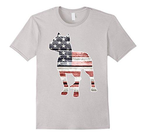 - Mens Patriotic Pitbull dog Tshirt 3XL Silver