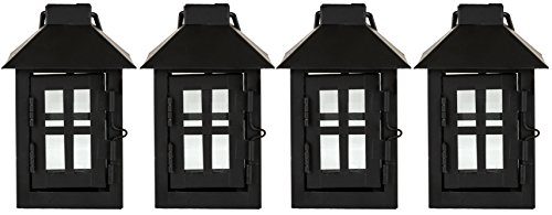 - Painted Metal Tealight Lanterns with Glass Side Windows, Pack of 4