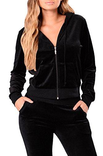 (Linsery Women's Long Sleeve Velvet Zip Up Jacket + Pants 2 Piece Sweatsuits (2XL=US-XL, Black))