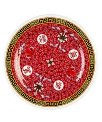 Thunder Group Peacock - Thunder Group Peacock Collection 12-Pack Plate, 9-1/8-Inch, Melamine, Red