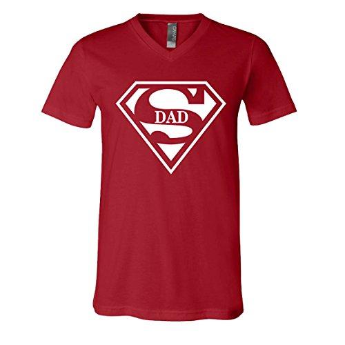 Super Dad V-Neck T-Shirt Mens Superboy Superman Superwoman Movie Boy Father (Canvas (Superwoman Outfit)